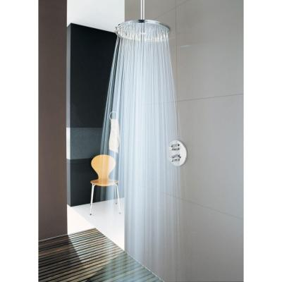 1-Spray 12 in. Single Ceiling Mount Fixed Rain Shower Head in StarLightChrome