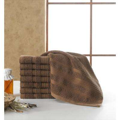 Solomon Collection 13 in. W x 13 in. H 100% Turkish Cotton Bordered Design Luxury Washcloth in Brown (Set of 8)