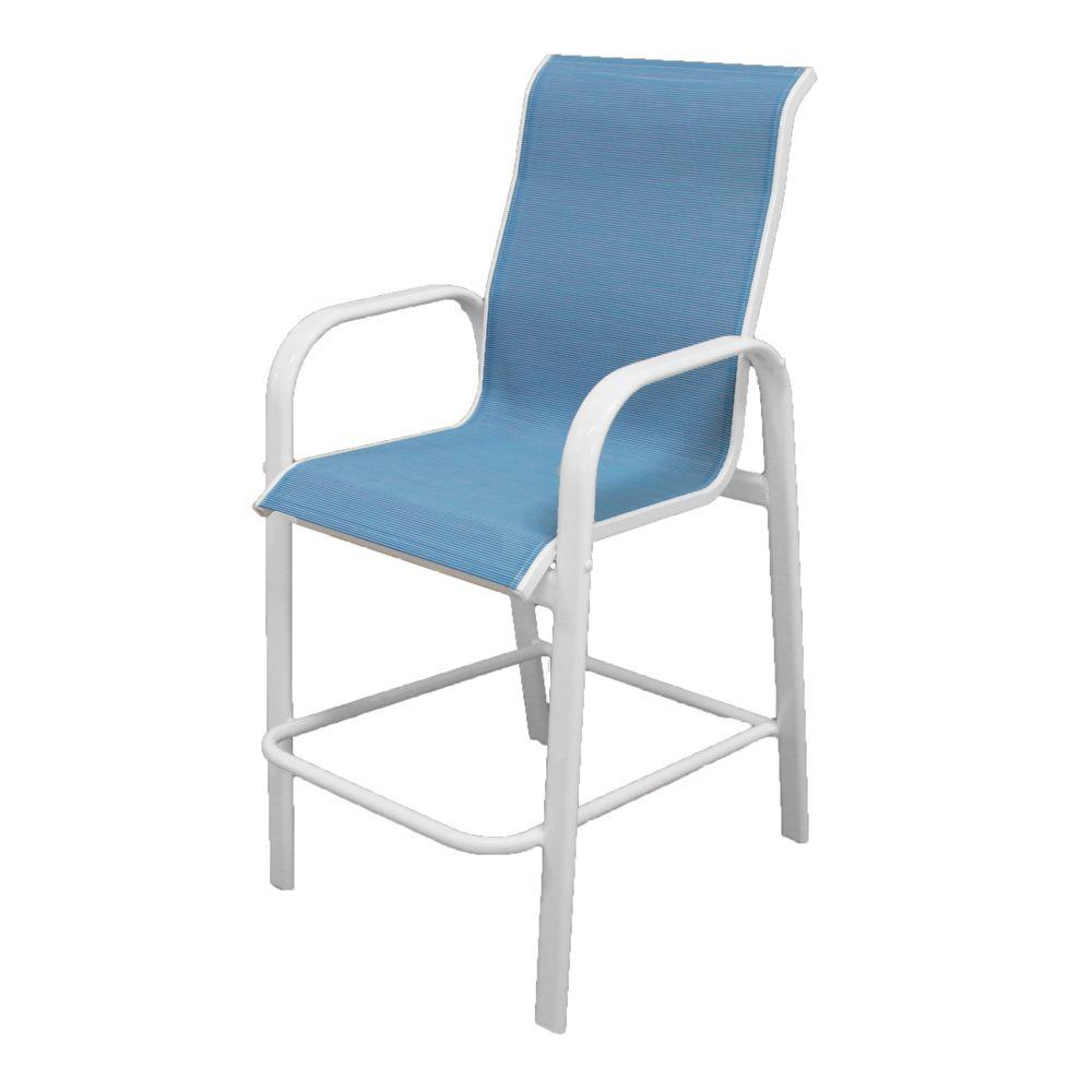 Marco Island White Commercial Grade Aluminum Sling Outdoor Bar Stool in Dupione Poolside
