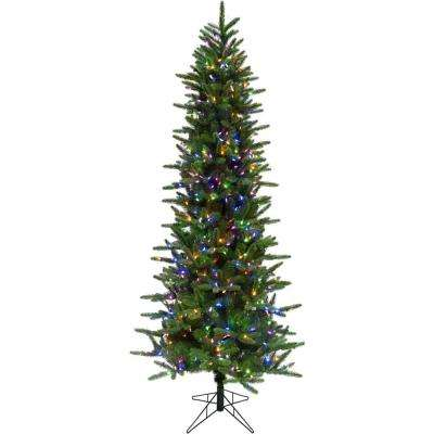 6.5 ft. Carmel Pine Slim Artificial Christmas Tree with Multi-Color LED String Lighting