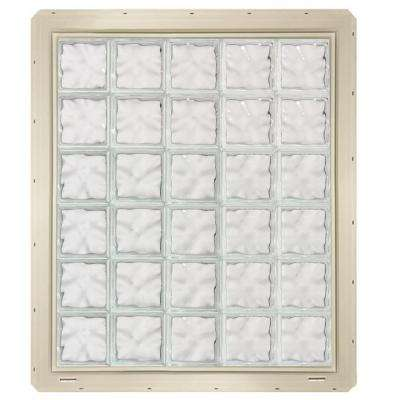 39.25 in. x 46.75 in. x 3.25 in. Wave Pattern Glass Block Window with Almond Colored Vinyl Nailing Fin
