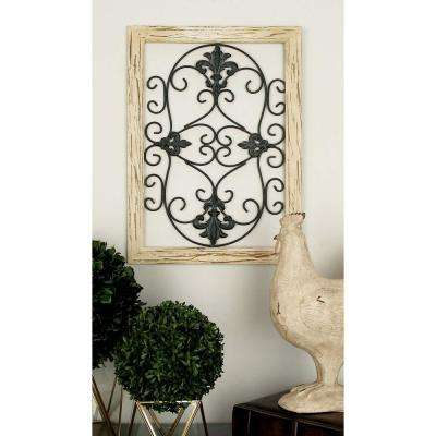 16 in. x 22 in. Black and Bronze French-Inspired Fleur de Lis and Scrollwork Metal Wall Panel(2-Pack)