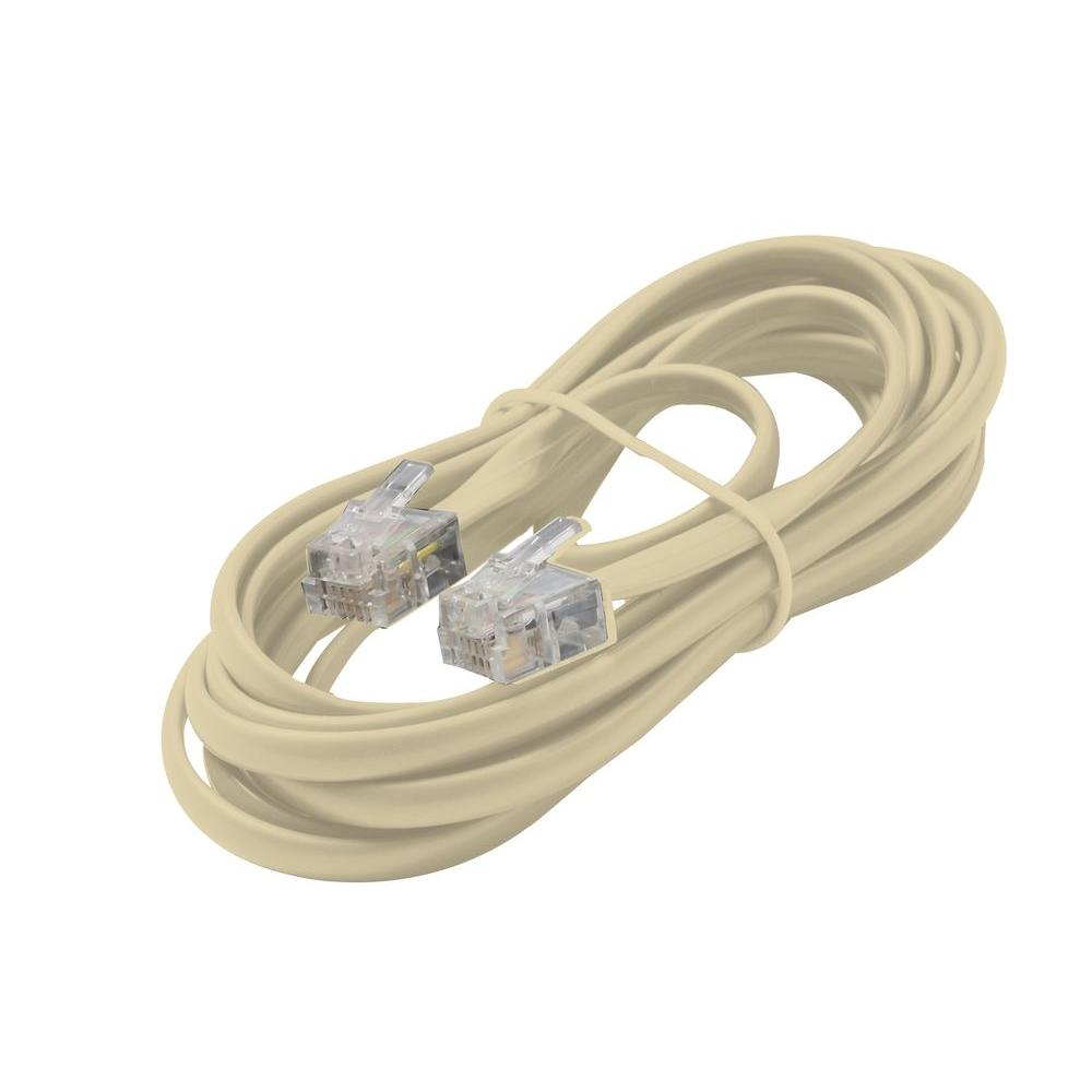 Commercial Electric 50 ft. Telephone Line Cord, White-50FT LINE CORD ...