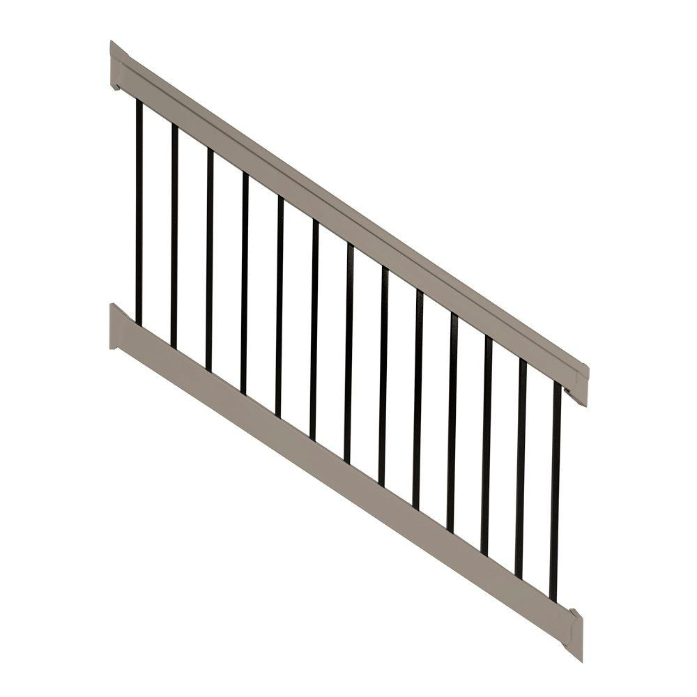Weatherables Vilano 36 in. x 96 in. Vinyl Khaki with Square Black Aluminum Spindles Stair Railing Kit
