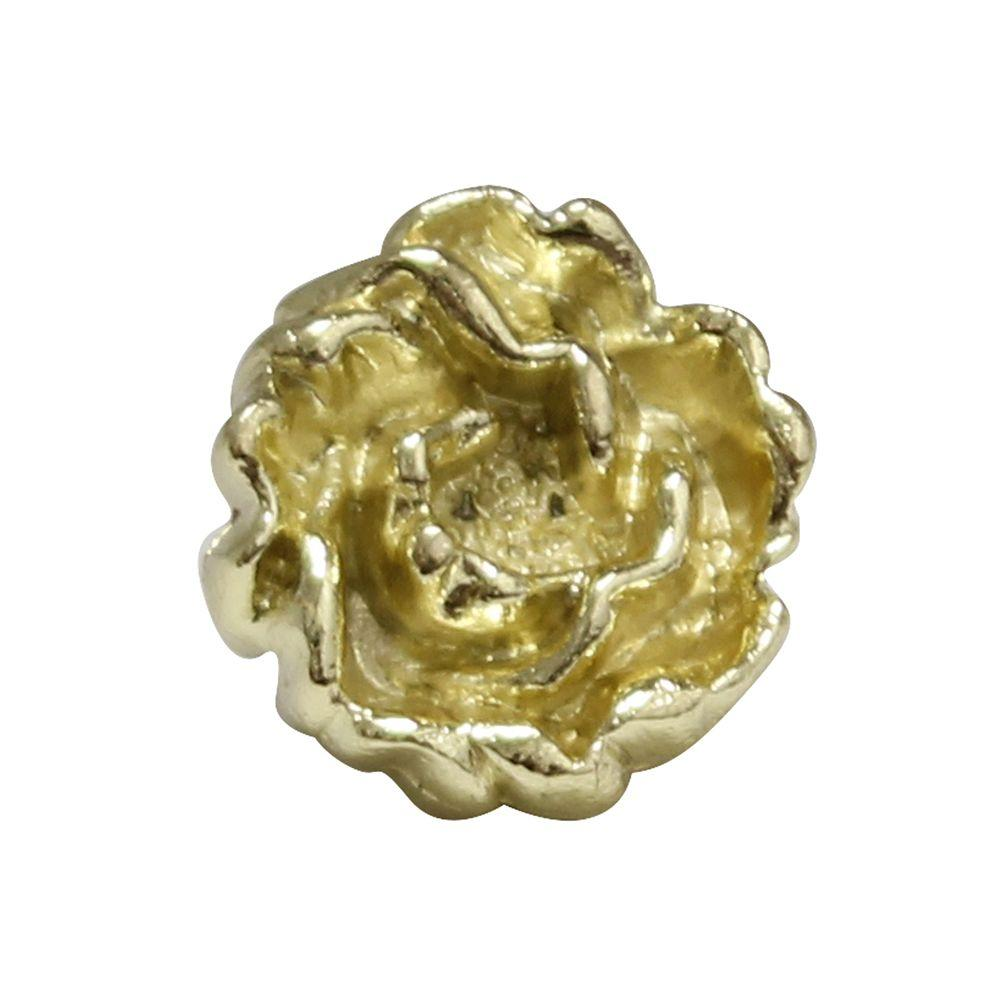 1-1/4 in. Polished Gold Rosette Shaped Cabinet Hardware Knob