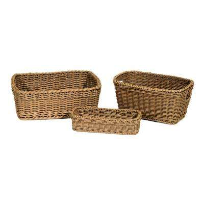 Nesting Wicker Weave Storage Basket (3-Piece) Light Brown