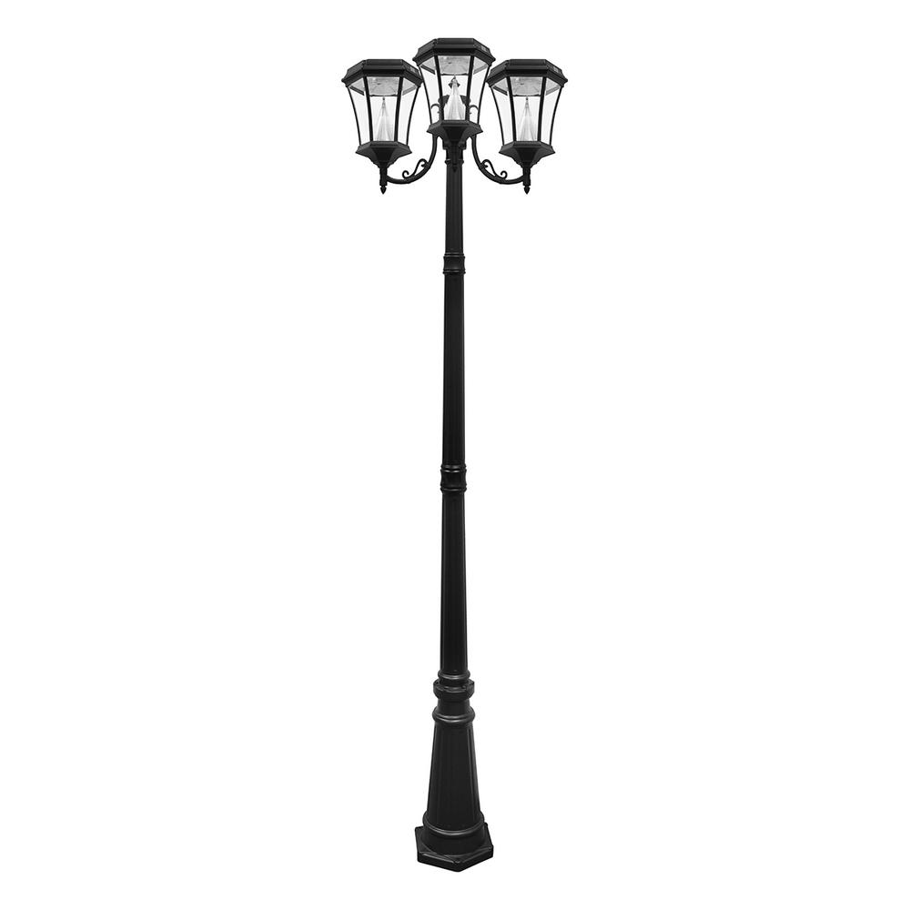 Solar outdoor lighting post outdoor designs gama sonic victorian 3 head outdoor solar black lamp post gs 94t b mozeypictures Choice Image