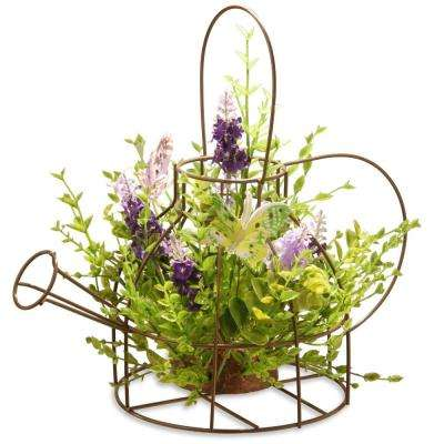 11.5 in. Lavender Iron Kettle Decor