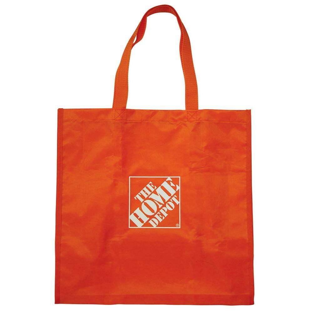The Home Depot 7.25 in. Orange Reusable Shopping Bag The Home Depot Reusable Shopping Bag is a great purchase for our customers who frequent our stores and don t want to waste another plastic bag. The durable, lightweight nylon is perfect for holding most small and medium sized products. The bright orange color will stand out when you store the bag at home so you can quickly find it.