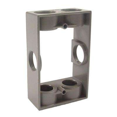 1-Gang Gray Weatherproof Extension Adapter with Six 3/4 in. Threaded Outlets