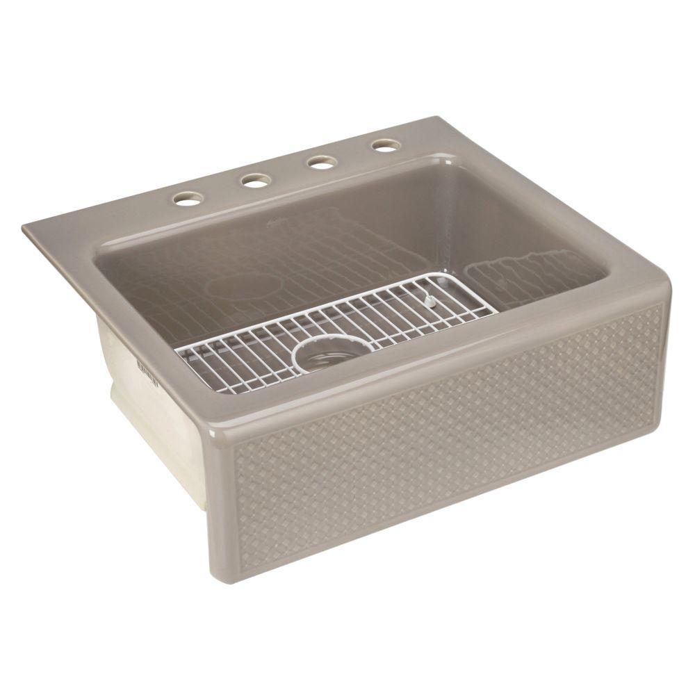KOHLER Evenweave Design on Alcott Tile-In Fireclay 25 in. 4-Hole Single Bowl Kitchen Sink in Translucent Cashmere