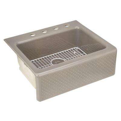 Evenweave Design on Alcott Fireclay 25 in. 4-Hole Single Basin Kitchen Sink in Translucent Cashmere