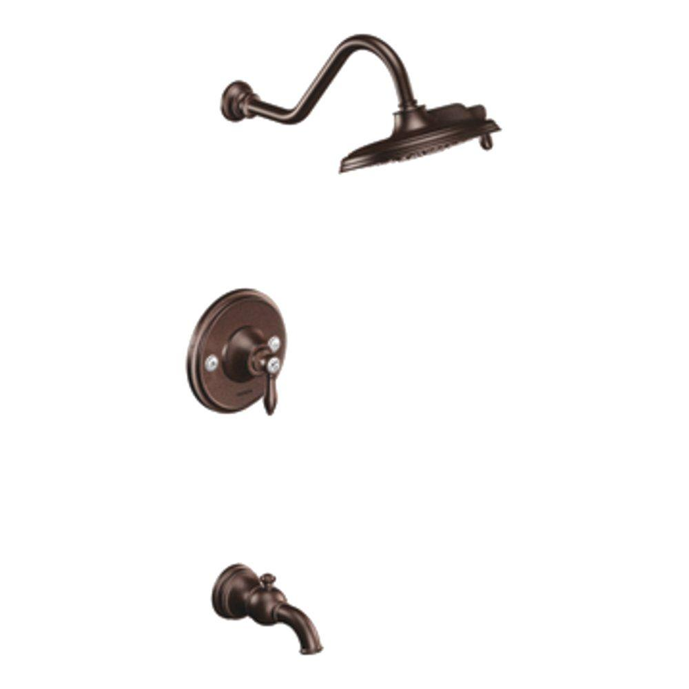 MOEN Weymouth 1 Handle Posi Temp Tub And Shower Trim Kit In Oil Rubbed  Bronze (Valve Not Included) TS32104ORB   The Home Depot