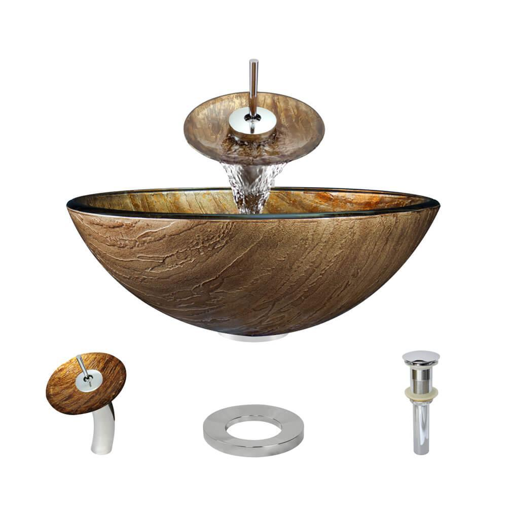 Glass Vessel Sink in Bronze Hues with Waterfall Faucet and Pop-Up