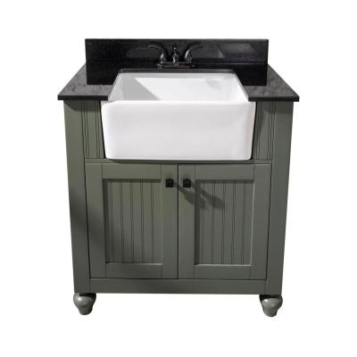 31 in. W Vanity in Pewter Green with Marble Vanity Top in Black with White Basin