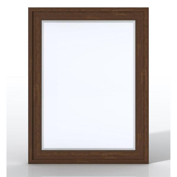 Addison 30 in. W x 39 in. H Single Framed Wall Mirror in Mid-century Acacia