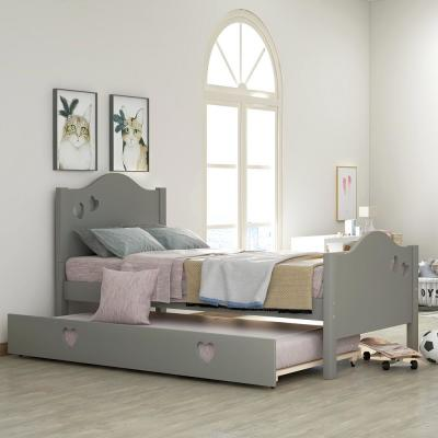 Loving Gray Twin Size Platform Bed with Trundle for Children