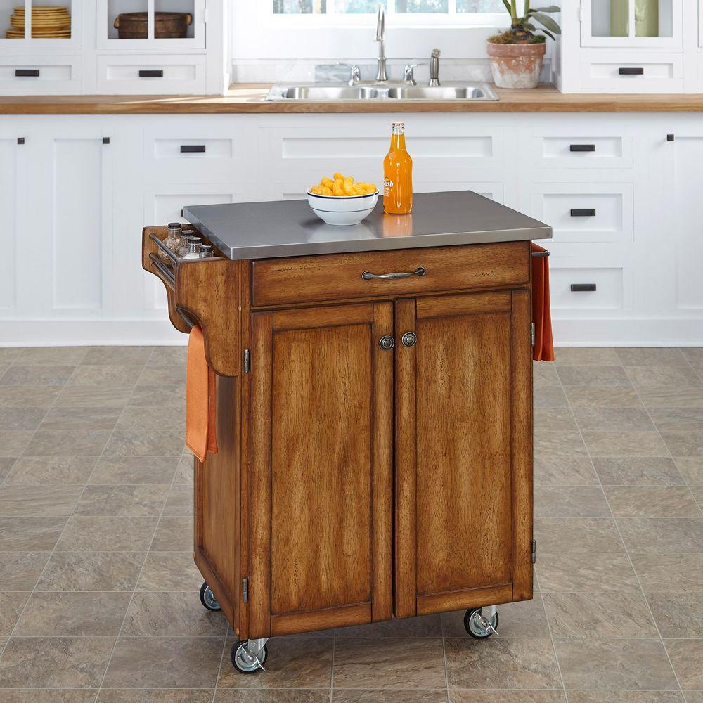 Create-a-Cart Warm Oak Kitchen Cart With Stainless Top