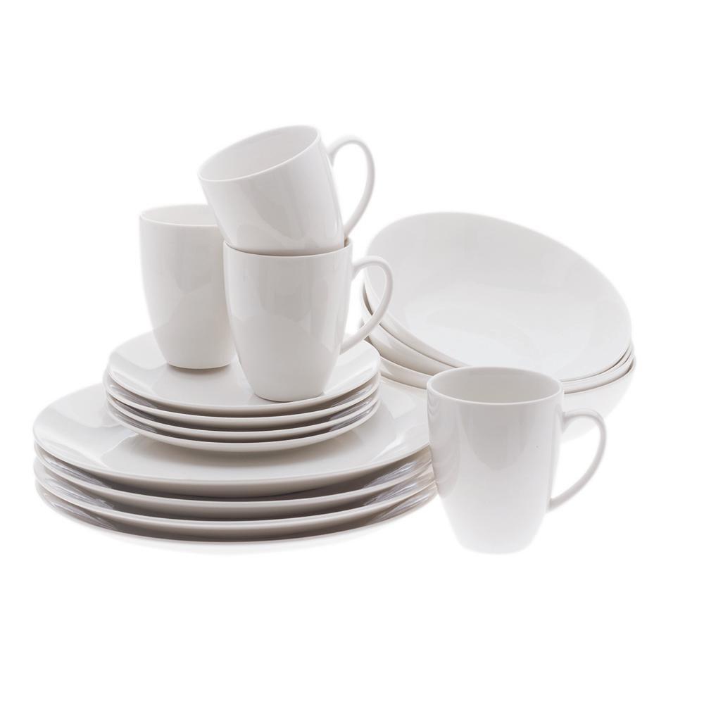 White Basics Coupe Dinner Set (16-Piece)