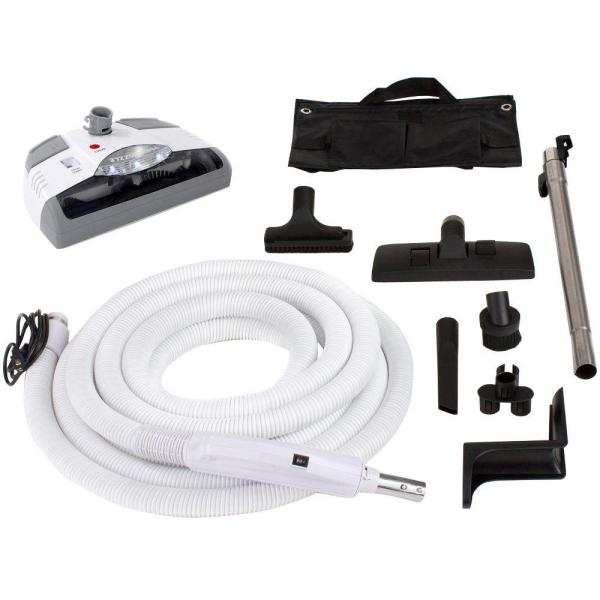 30 ft. Central Vacuum Hose White Power Nozzle Head with Complete Kit fits All Brands