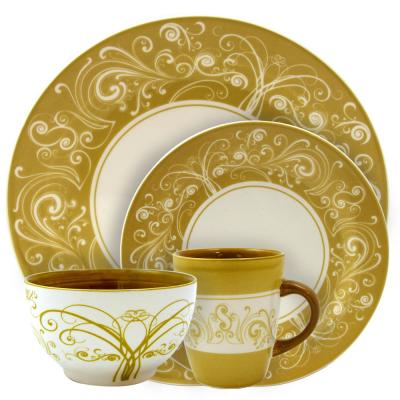 Parisian Swirl 16-Piece Gold Service for 4-Stoneware Dinnerware Set