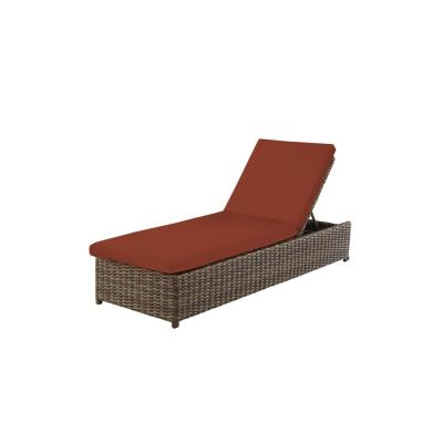 Fernlake Taupe Wicker Outdoor Patio Chaise Lounge with CushionGuard Quarry Red Cushions