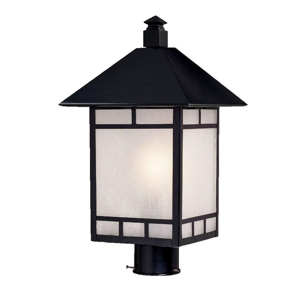 Outdoor Post Lights At Home Depot: Hampton Bay 3-Head Black Outdoor Post Light-HB7017P-05