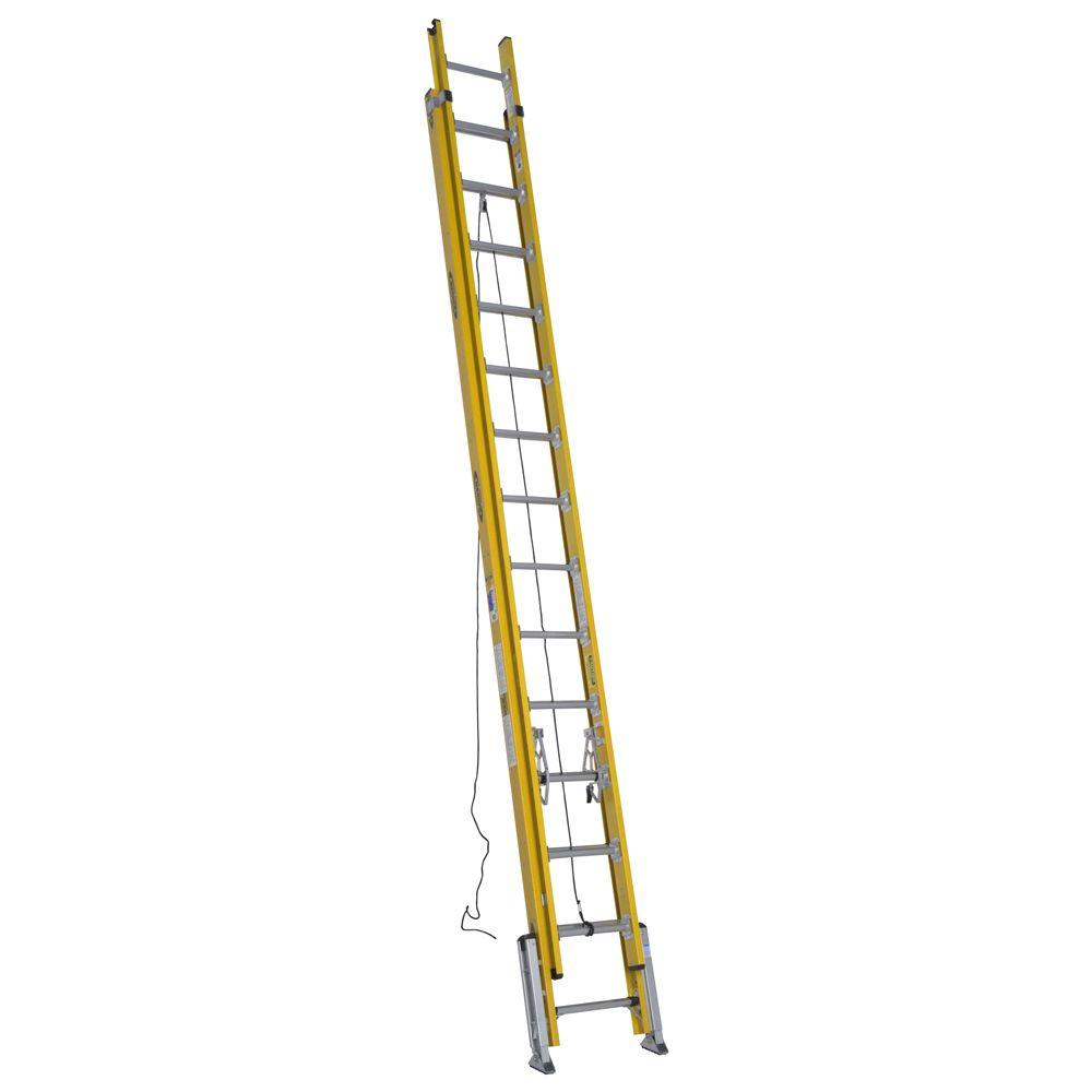 28 ft. Fiberglass D-Rung Leveling Extension Ladder with 375 lb. Load