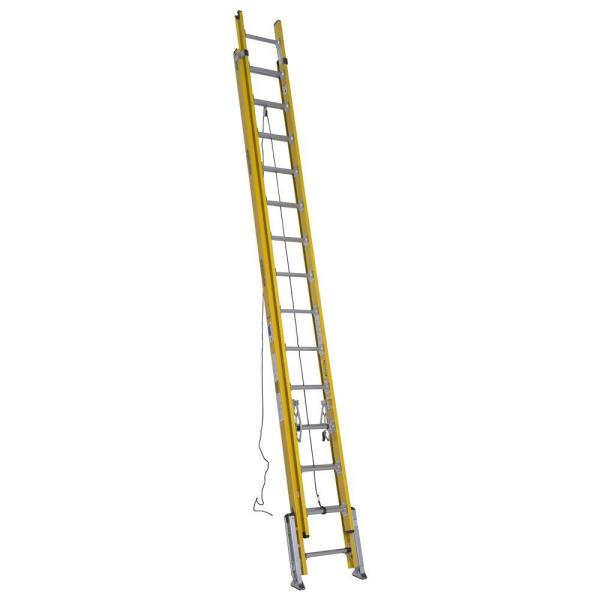 28 ft. Fiberglass D-Rung Leveling Extension Ladder with 375 lb. Load Capacity Type IAA Duty Rating