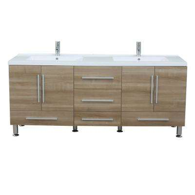 The Modern 67.125 in. W x 20.625 in. D Bath Vanity in Light Oak with Acrylic Vanity Top in White with White Basin