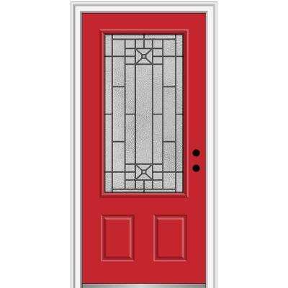 36 in. x 80 in. Courtyard Left-Hand 3/4-Lite Decorative Painted Fiberglass Smooth Prehung Front Door, 4-9/16 in. Frame