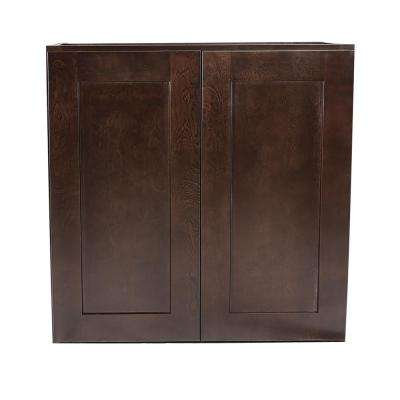 Brookings Fully Assembled 27x24x12 in. Kitchen Wall Cabinet in Espresso