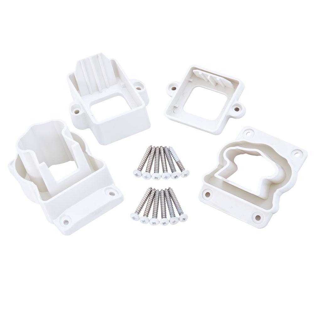Fiberon ArmorGuard Deluxe White Plastic Stair Rail Hardware Kit