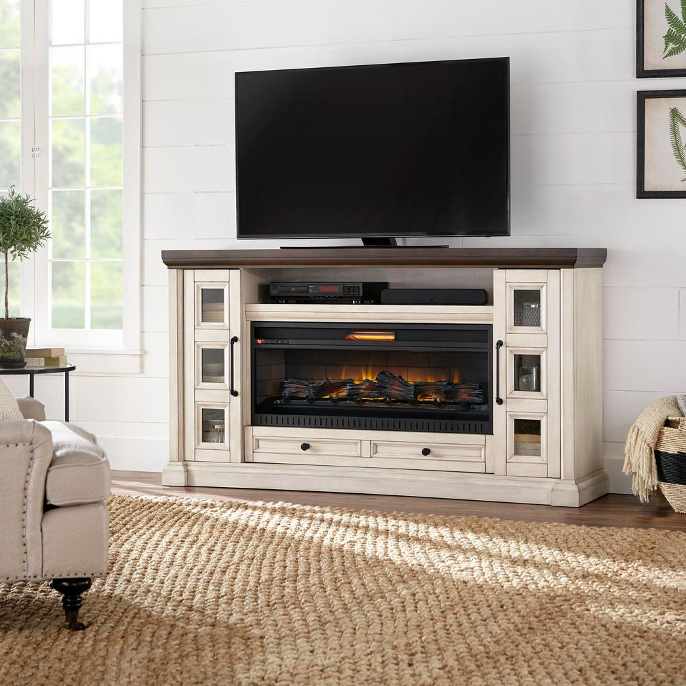 Home Decorators Collection Cecily 72 in. Media Console Infrared Electric Fireplace in Antique White with Warm Charcoal Top Finish