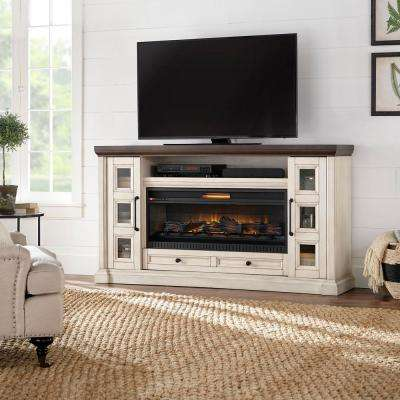 Cecily 72 in. Media Console Infrared Electric Fireplace in Antique White with Warm Charcoal Top Finish