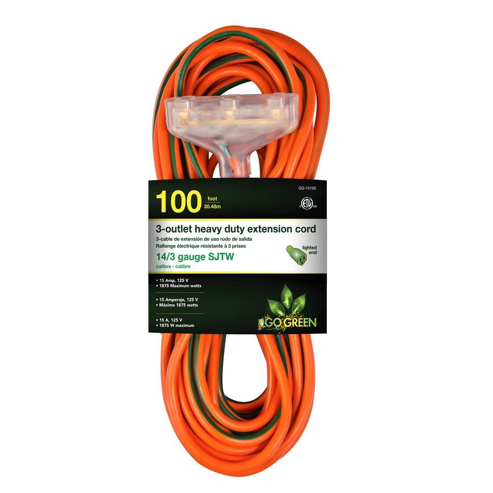 Go Green Power 100 ft. 3-Outlet 14/3 Heavy Duty Extension Cord - Orange