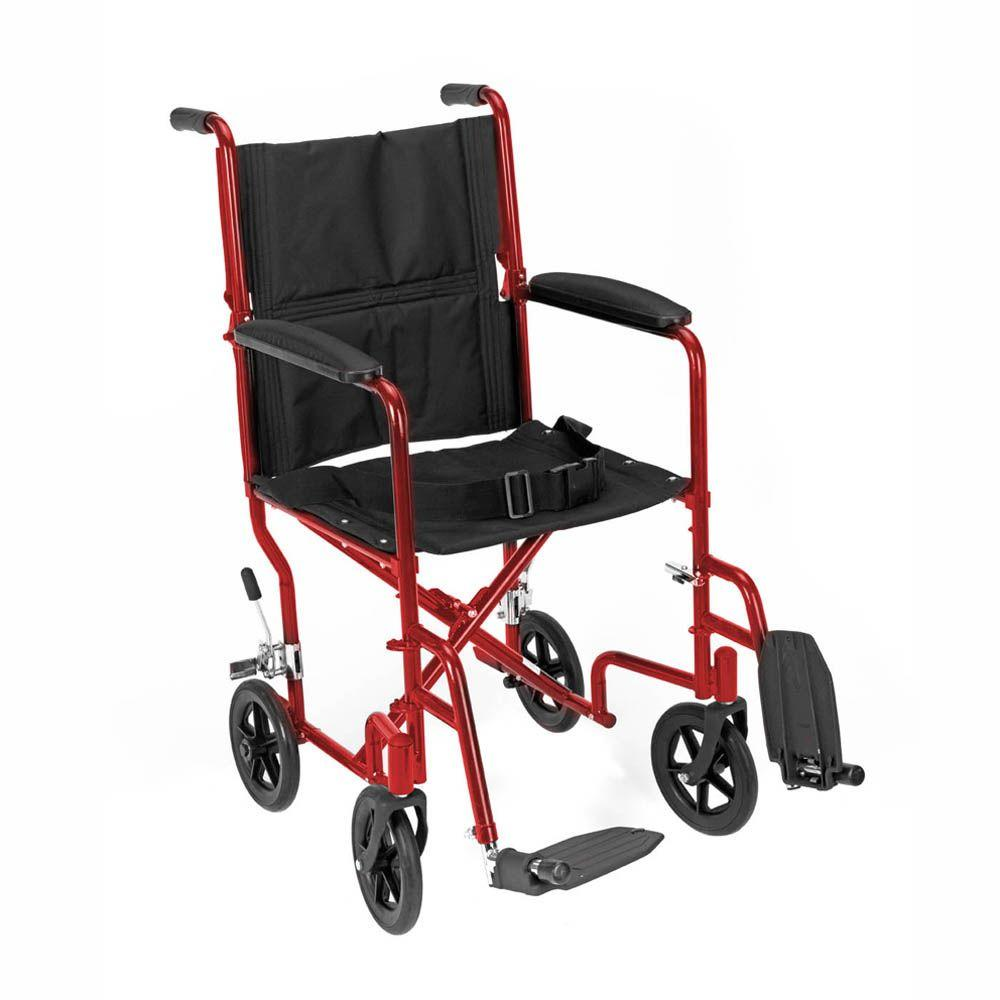 null Revolution Mobility Standard Steel Transport Wheelchair with 19 in. Wide Seat in Red-DISCONTINUED