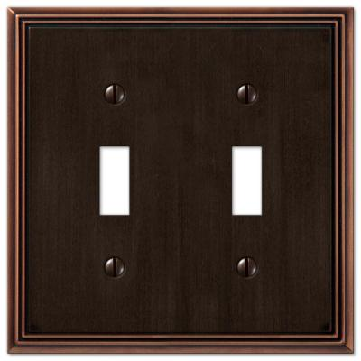 Rhodes 2 Gang Toggle Metal Wall Plate - Aged Bronze