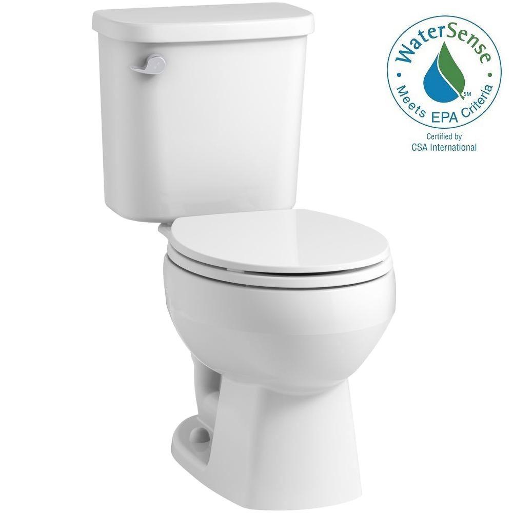 Windham 2-piece 1.28 GPF Single Flush Round Toilet in White