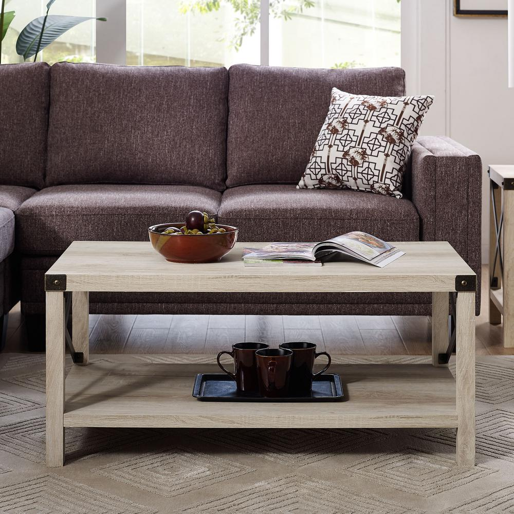 Walker Edison Furniture Company 40 Rustic Urban Metal X Coffee Table White Oak