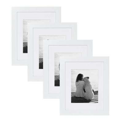 Museum 11 in. x 14 in. Matted to 8 in. x 10 in. White Picture Frame (Set of 4)