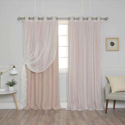 84 in. L uMIXm Taupe Tulle and Cotton Slub Blackout Curtain (4-Pack)