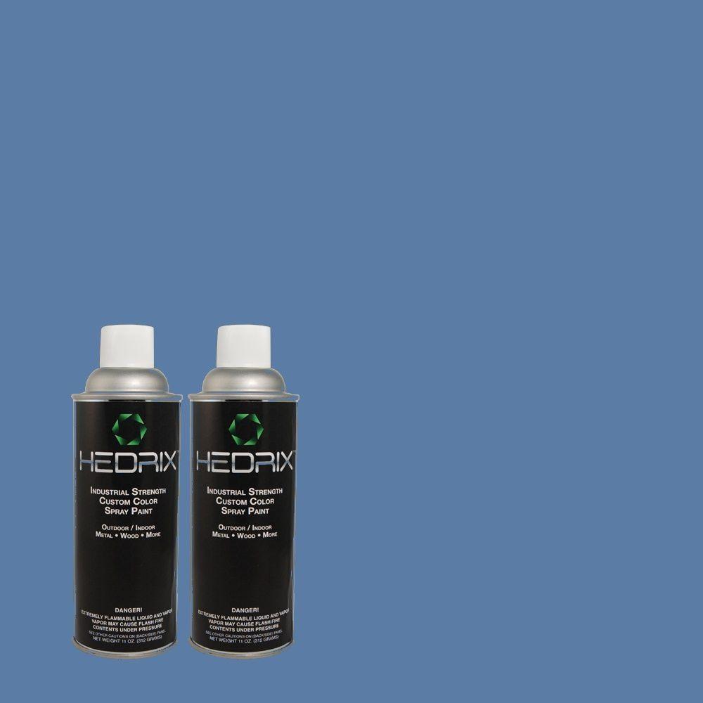 Hedrix 11 oz. Match of CH-20 Liberty Blue Semi-Gloss Custom Spray Paint (2-Pack)