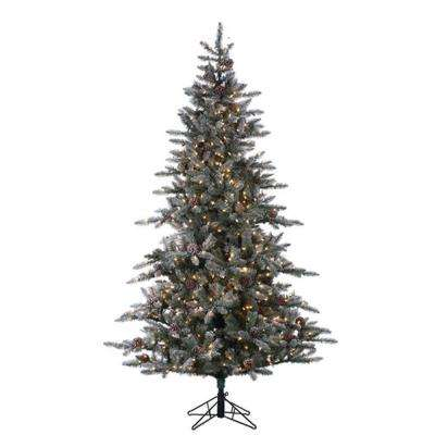 7.5 ft. Pre-Lit Lightly Flocked McKinley Pine Artificial Christmas Tree with Clear Lights and Pinecones