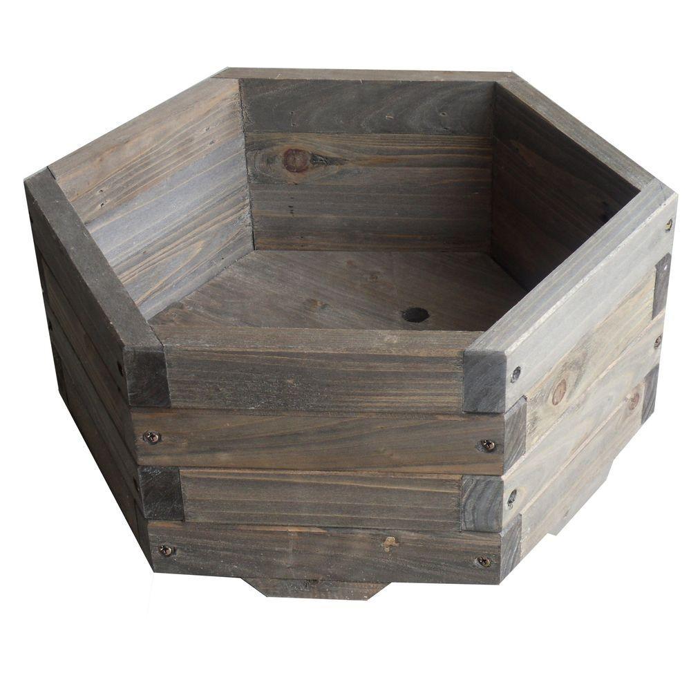 Elegant Home Fashions 16 In Dia All Wood Hexagon Barrel Planter