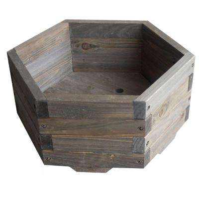16 in. dia. All Wood Hexagon Barrel Planter