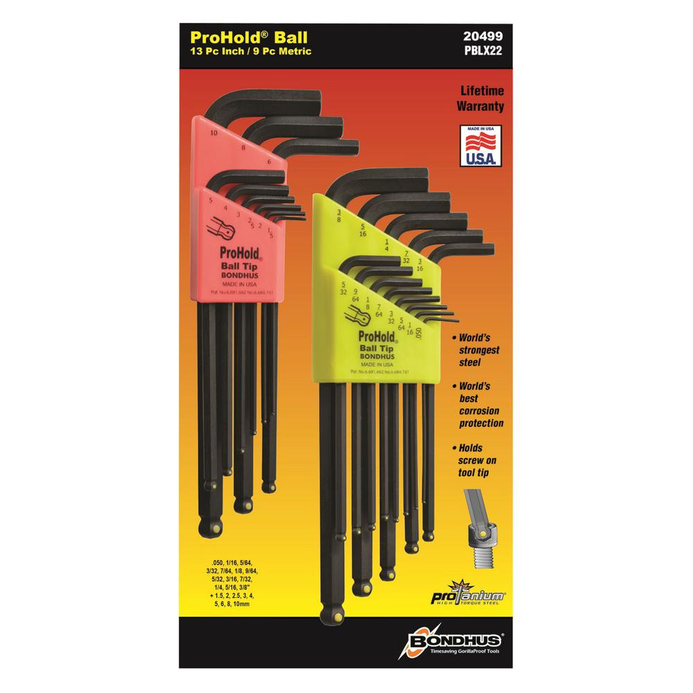 Standard and Metric ProHold Ball End L-Wrench Sets (22-Piece)