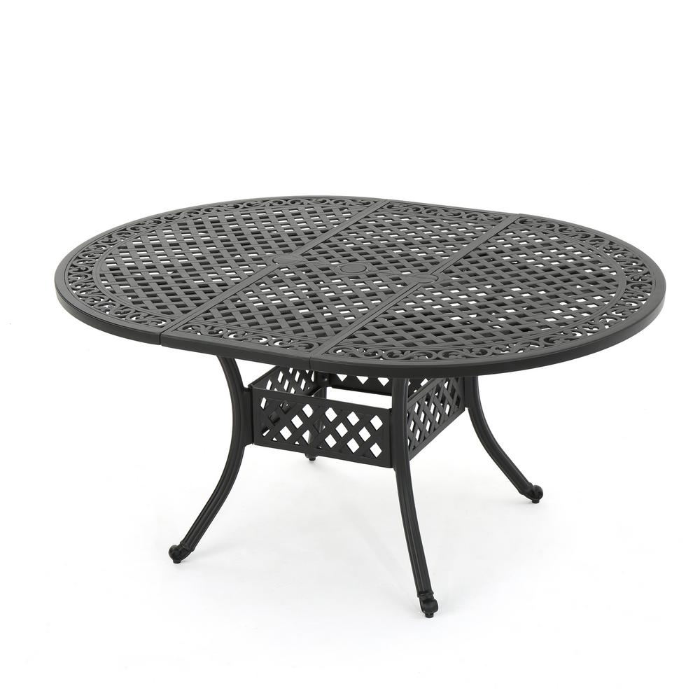 Black Oval Aluminum Expandable Outdoor Dining Table