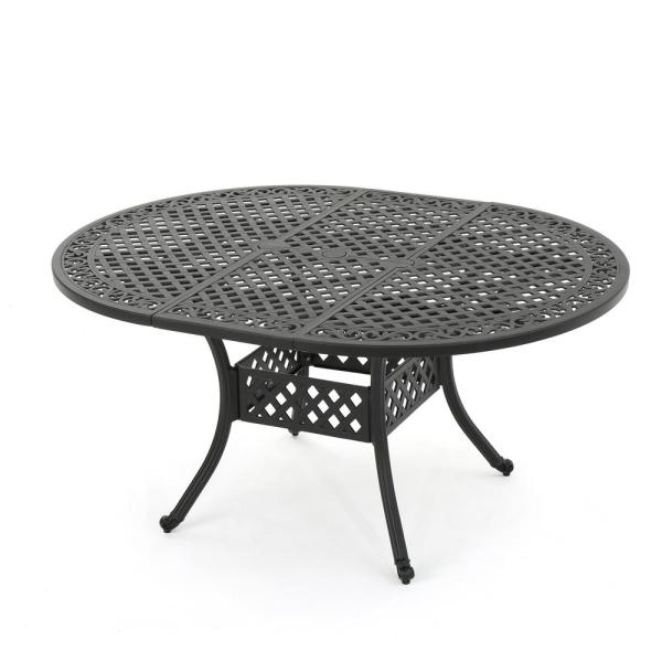 Noble House Black Oval Aluminum Expandable Outdoor Dining Table 14631 The Home Depot