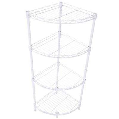 35 in. H x 11.8 in. W x 11.8 in. D 4-Tier Carbon Steel Adjustable Fan-shaped Storage Rack Shelf Organizer in Ivory White